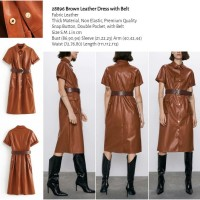Brown Leather Dress with Belt (size S.M.L)