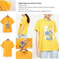 Yellow Girl with Cat T-Shirt (size S.M.L)