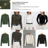Gold Button Knit Sweater (GREEN,BLACK,WHITE) - (size S.M)