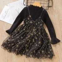 rok dress bayi anak hitam bintang cantik