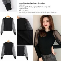 Black Knit Translucent Sleeve Top (size S.M.L)