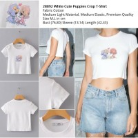 White Cute Puppies Crop T-Shirt (size M.L)