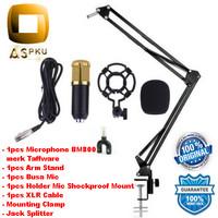Paket Rekaman /Karaoke Smule Taffware Mic Kondenser BM800 + Stand (Fre