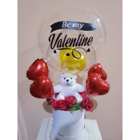 Valentine Edition II Teddy Bear Bloom Box with Hot Air Balloon 1