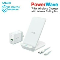wireless charger stand putih dan powerport +1 Quick charge 3.0