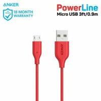 Cable powerline micro anker USB 3ft/0.9m merah