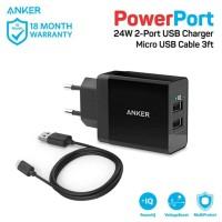 Anker powerport 2 dual changer dengan micro USB 3ft Hitam