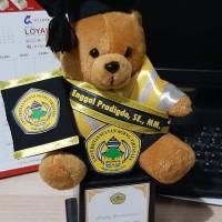 Boneka wisuda piala teddy bear + selempang