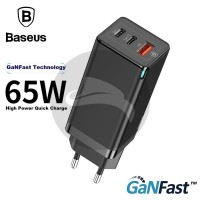 BASEUS GANFAST 65W TRAVEL CHARGER ADAPTOR POWER DELIVERY PD KEPALA SCP