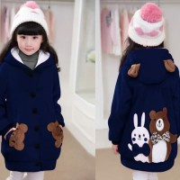 Jaket Hoodie Funny Rabbit & Bear Kid Navy