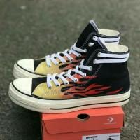 Sepatu sneakers Converse black red premium made in vietnam