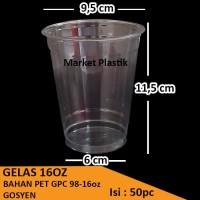 Gelas Cup PET 16oz/Gelas Plastik PET/Gelas PET Murah