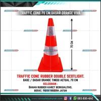 Traffic Cone Kerucut Lalu Lintas Orange RUBBER 70cm Double Scotlight