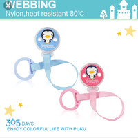 Puku Pacifier Clipper Round blue/pink with Fabric Chain