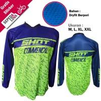 Jersey Sepeda Baju DH Down Hill MTB Shot Biru Hijau - Lengan Panjang