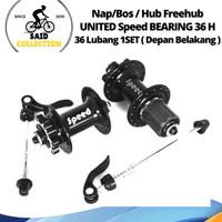 Nap Hub Freehub UNITED 36h SPEED 6 Bolt Sealed Bearing - 36H Hitam