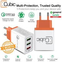 CUBIC Charger 3 Port USB Fast Quick Charge 2.4A 18W Qualcomm QC 3.0