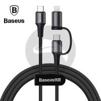 BASEUS TWINS 2IN1 TYPE C LIGHTNING KABEL DATA FAST CHARGING CHARGER PD