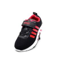 Sepatu Anak Sepatu Balita Kid Shoes Runner Black White Red Stripes
