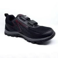 Sepatu Anak Sepatu Sekolah Carvil Storm Black Grey Velcro