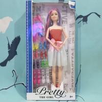mainan boneka barbie set dengan sepatu barbie & aksesoris lain