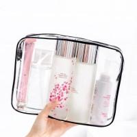 Makeup Pouch Travel Size Large Tas Kosmetik Transparan Waterproof thumbnail