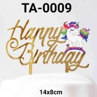 TA-0009 Tulisan Akrilik cake topper acrylic happy birthday unicorn