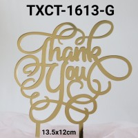 TXCT-1613-G Tulisan Akrilik cake topper acrylic thank you ukiran emas