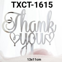 TXCT-1615 Tulisan Akrilik cake topper acrylic thank you hati silver