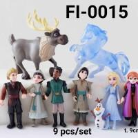 FI-0015 Mainan figurin figurine frozen elsa anna olaf kuda air set 9