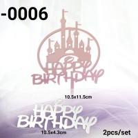 TA-0006 Tulisan Akrilik cake topper happy birthday motif disney