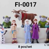 FI-0017 Mainan figurin figurine frozen elsa anna olaf sven set 8