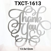 TXCT-1613 Tulisan cake topper Akrilik thank you terima kasih silver