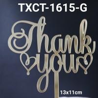 TXCT-1615-G Tulisan Akrilik cake topper acrylic thank you hati emas
