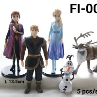 FI-0019 Mainan figurin figurine frozen elsa anna olaf sven set 5