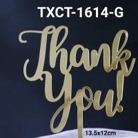 TXCT-1614-G Tulisan cake topper Akrilik thank you terima kasih emas
