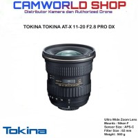 Lensa Tokina AT-X 11-20 F/2.8 PRO DX - FOR CANON & NIKON