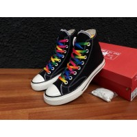Sepatu sneakers converse 70s high black rainbow,premium quality