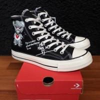 Sepatu sneakers Converse hi 70's GLOMY BEAR BLACK WHITE