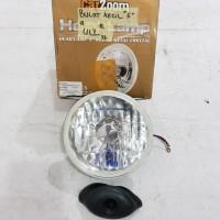 "Lampu Sealed Beam / Head Lamp Crystal / Kristal Bulat 5"" 12V / 24V H4"