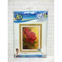Paket Sulam Kristik TIMKEE-90589 Bunga Flower Rose Mawar