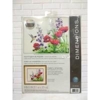 Paket Kristik Original Dimensions 70-35344 Hummingbird & Poppies Bunga