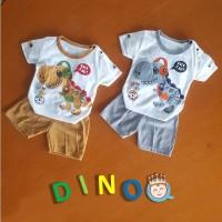 Setelan Baju Bayi Baju Anak Motif Dino Funky