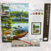 Paket Melukis Paint By Number Dimensions 73-91446 Canoe By The Lake