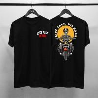 T-shirt Skull Ride Fast / Baju Kaos Distro Pria Wanita Cotton 30s