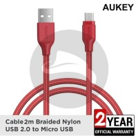 AUKEY CB-AM2 RED DATA CABLE 2M MICRO USB FAST CHARGING SAMSUNG XIAOMI