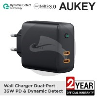 AUKEY PA-D2 CHARGER 36W DUAL PORT PD POWER DELIVERY FAST CHARGING