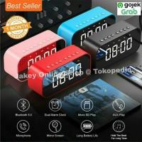Speaker Alarm Bluetooth Mini Portable + Mirror Jam Meja Digital Call