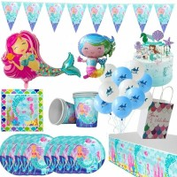 Jual Cartoon Mermaid Theme Plate Cup Disposable Sets Kids Birthday Party D Jakarta Barat Tokoe Udin Tokopedia