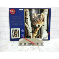 Paket Melukis Paint By Number Dimensions 91254 Wolf In Trees Serigala